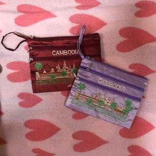 柬埔寨帶回 刺繡化妝包