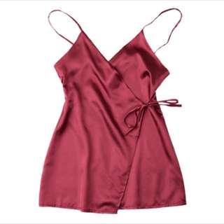 Red Wrap Silky Tank Top