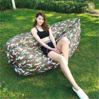 In Stock -ultra light Camouflage Inflatable Air Sofa Bed Lazy Sleeping Camping Bag Beach Hangout Couch Windbed-2 layers , 170T Polyester