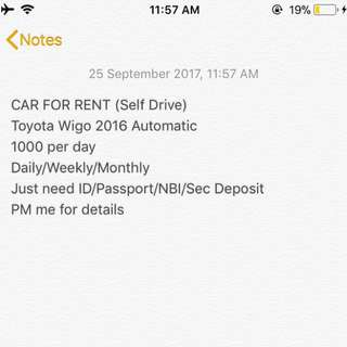 CAR FOR RENT (Self Drive)