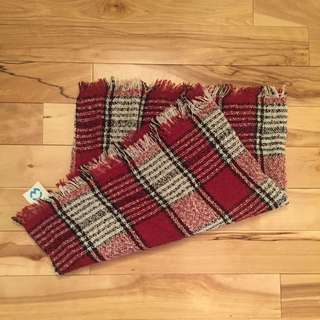 Red Plaid Circle Scarf