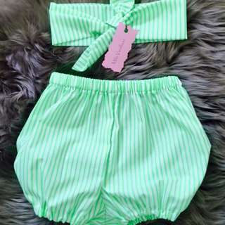 New Handmade Baby Girls Shorts & Headband Set, Sizes 00-2 Available