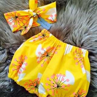 New Handmade Baby Girls Shorts & Headband Set, Yellow Flowers, Sizes 00-2 Available