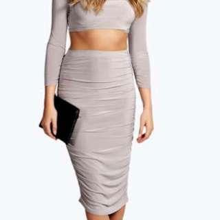 Midi Rouched Skirt