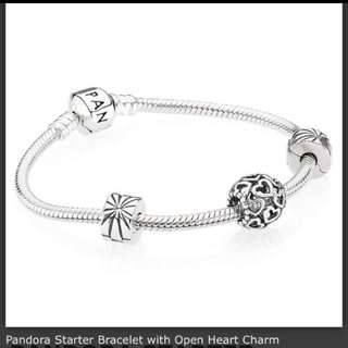 Pandora Bracelet with an Open Heart Charm
