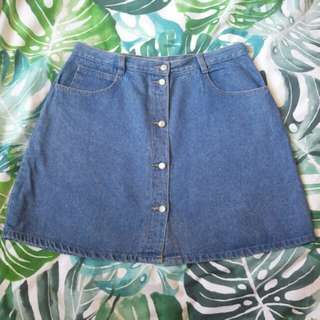 VINTAGE BUTTON DOWN DENIM SKIRT