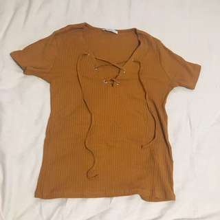 Zara Golden Brown Top