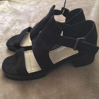 Black heeled sandals