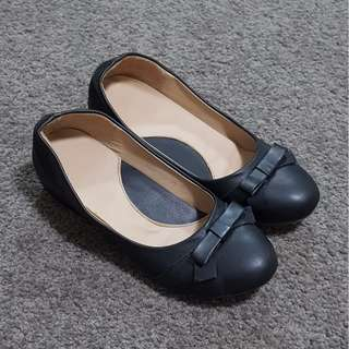 Black Wedges with Bow Tie