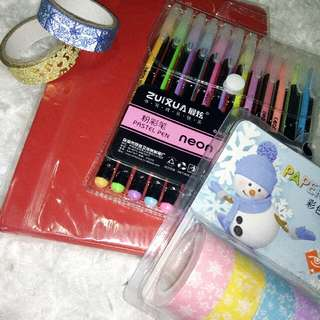 Notebook, Pastel Washi Tapes, Neon Pen & Glittery Washi Tapes