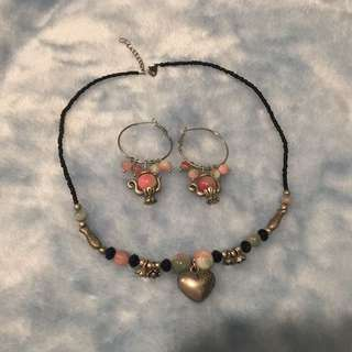A set of earrings and necklace