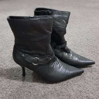 Black Ankle High Heels Boots