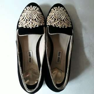Miu Miu Embroidered Crystal shoes