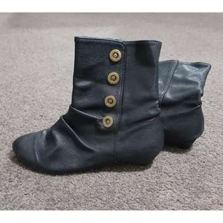Black Ankle Boots with Buttons