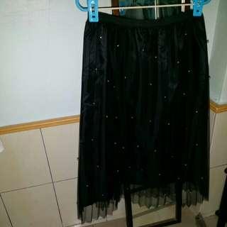 黑色珍珠網紗裙