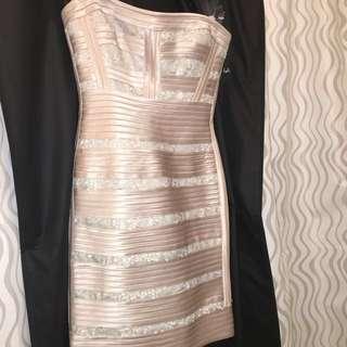 BCBG sequin bandage dress champagne