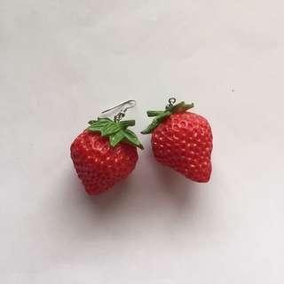 cute strawberry earrings hook dangle