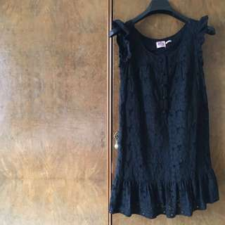 Juicy Couture Black Eyelet Floral dress, Size Small