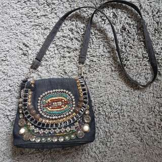 Beaded Maong Sling Bag
