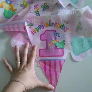 First Birthday Fairy Flag Banner
