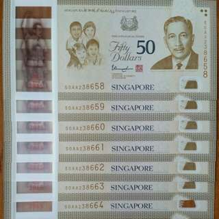 NOT TO BE MISSED!!! SG50 COMMEMORATIVE $50 NOTE PREFIX AA 7 RUNS!!!