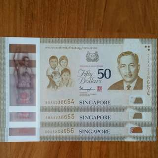 NOT TO BE MISSED!!! SG50 COMMEMORATIVE $50 NOTE PREFIX AA 3 RUNS!!!