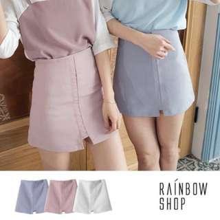 <轉賣> Rainbow Shop 車線坑條後拉鍊短裙-藍色S號
