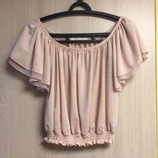Coco Deal 粉紅色圓領荷葉袖短版上衣2號