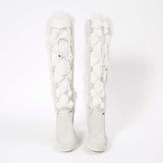 CELINE - Suede Moccasin Fur Boots