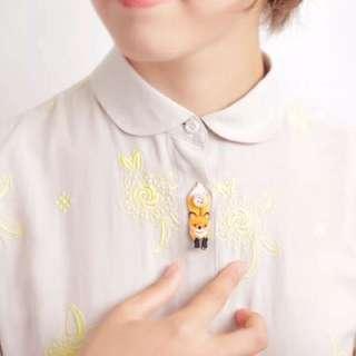 小動物小兔子狐狸🦊刺繡貼布森林系襯衫鈕扣裝飾襯衫扣