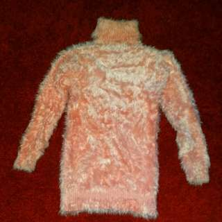Pink fluffy polo neck