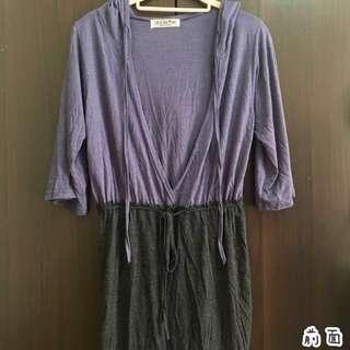 韓製💯大V領 腰綁帶連帽中長袖上衣 洋裝