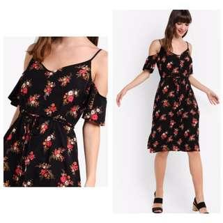 Cotton On Cold Shoulder Floral Black Midi Dress XXS