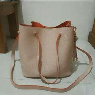 Preloved tas Pink bag leather