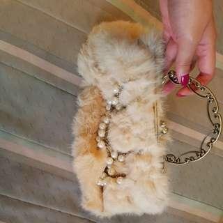 Furry white bag