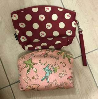 2 cosmetic pouches (1 used 1 new)