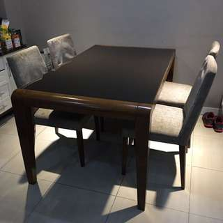 Solid Wood + Tempered Glass Top Dining Set