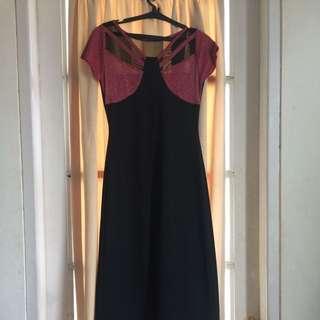 Long dress red black