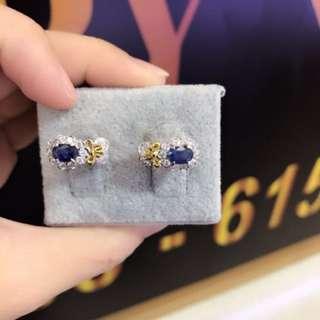 3.65g blue sapphire 18k gold Earing  36583950