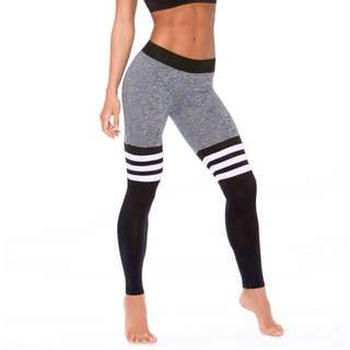 Fitness Thigh High Sock Leggings grey/black white stripes Bombshell style
