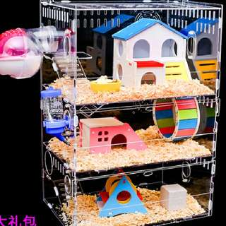 (OTW) 35cm New Acrylic Hamster Cage + Full Accessories