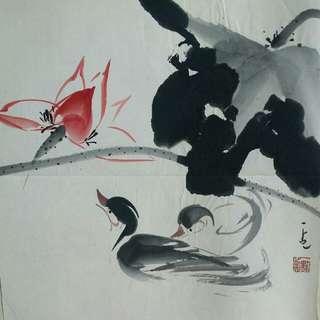 香港著名畫家  莫一點  作品 [儷影雙雙]