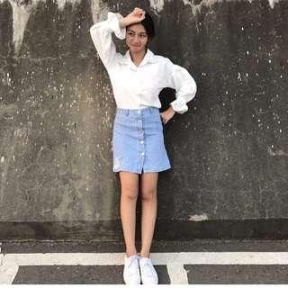 牛仔直條紋刷破短裙 排釦窄裙
