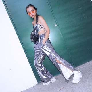 太空銀開衩寬褲