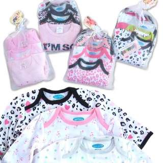 3PCS SET BABY GIRL L/S ROMPER - ASSORTED