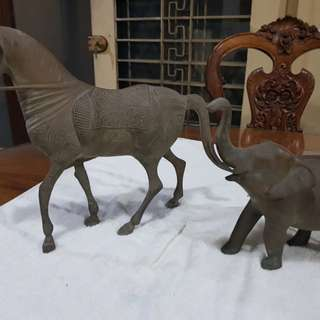 Antique Horse and Elephant set