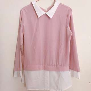 soft pink satin blouse