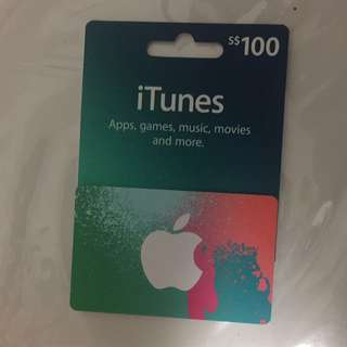 New $100 Itune Card (brand new with receipt)