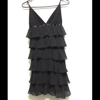 Black Blockout Ruffled Dress