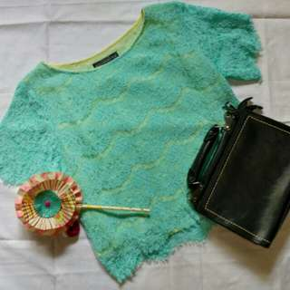 Blue lace crop tops by Mosarstwo